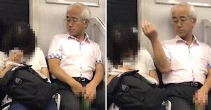 超奇怪大叔在電車上「伸手到胯下」,一直重複丟東西到隔壁女生頭上! (影片)