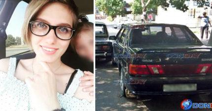 20歲正妹老婆不小心撞壞老公愛車,寫紙條「自殺身亡」!