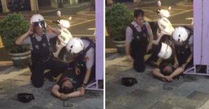 員警已經壓制毒犯後「特意用安全帽狠砸」,「為何要如此」網怒批:執法過當!
