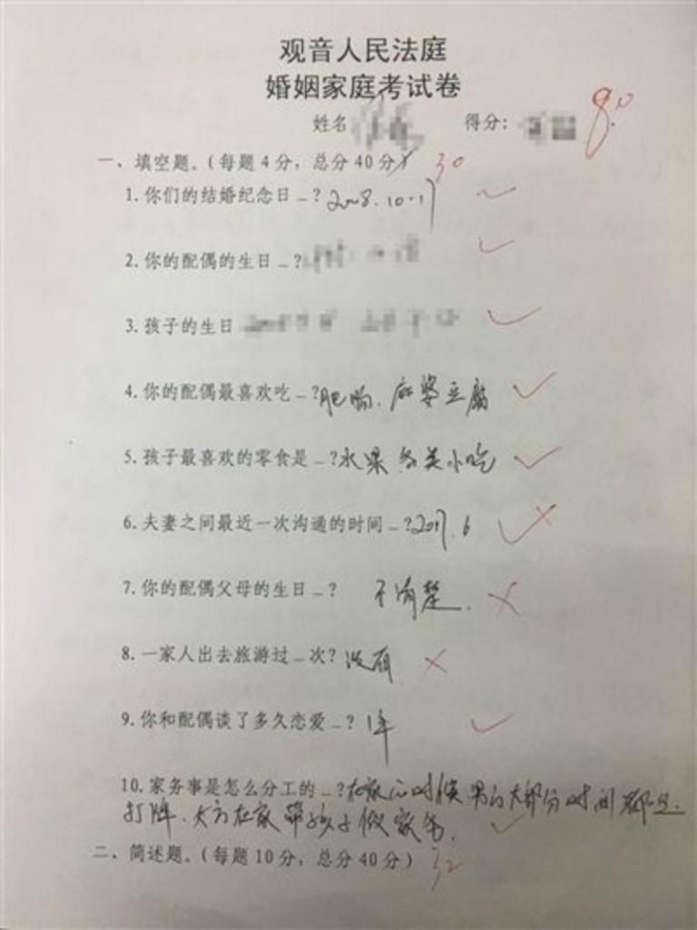 中國夫妻申請離婚被法院要求做考卷,「成績太優」拒絕離婚!網友:「好人性化!」