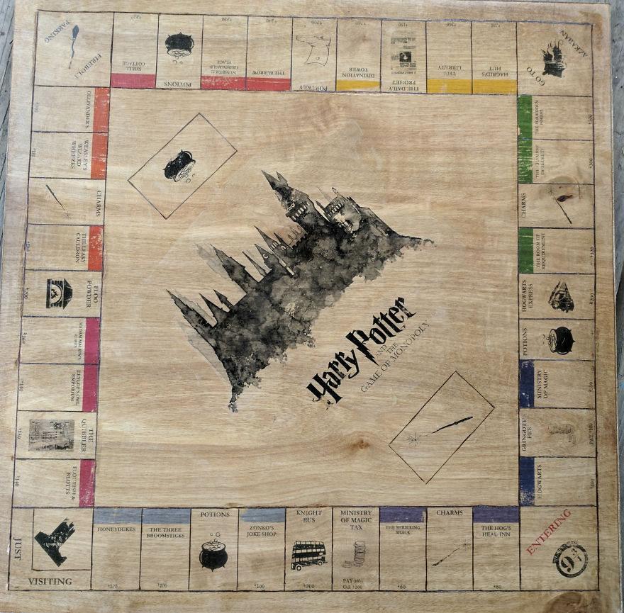 超強神人在家手工做「哈利波特版」大富翁,親手做遊戲棋子超夢幻!(15張)