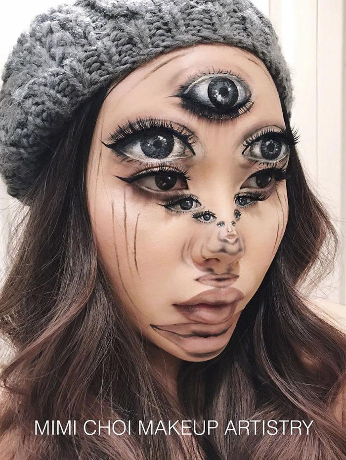 她的妝會讓愛看恐怖片的你嚇到漏尿!她卸掉妝比她的妝還精采!(31張)