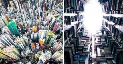 從天空俯瞰香港!7張被偷偷做成藝術的「美麗香港大樓奇景」。