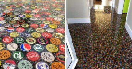 他花6個月蒐集1萬2000個瓶蓋「打造超狂地板」!拉近距離看美到炸!(影片)