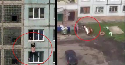 19歲男挽回女友「爬到7樓窗外懸吊」談判2分鐘,女友伸手想救「他無力墜樓慘死」!(影片)