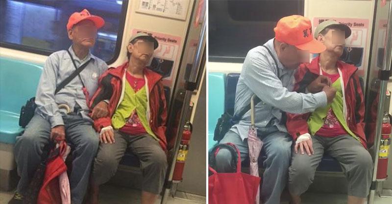 怕最愛的她著涼,老爺爺在捷運上「抖著雙手幫太太扣釦子」,甜到會讓人想立下新的人生目標!