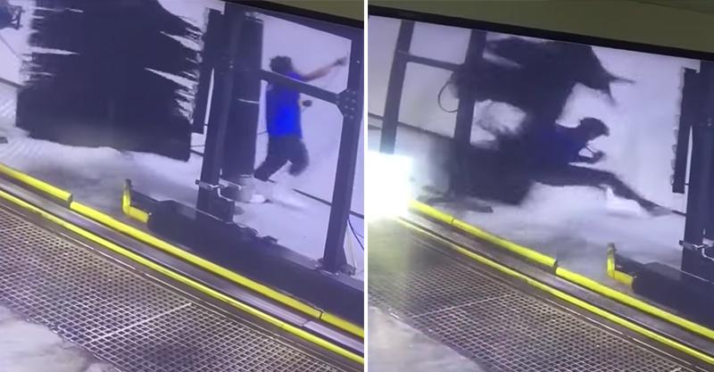 洗車場員工清理到一半「水管捲入機器」,整個人變成龍捲風! (影片)