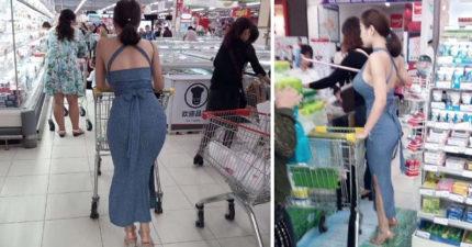 「背殺美到不科學」!超市驚見標準歐美豐滿俏臀,一轉身「更正點」讓人無體頭地朝聖!