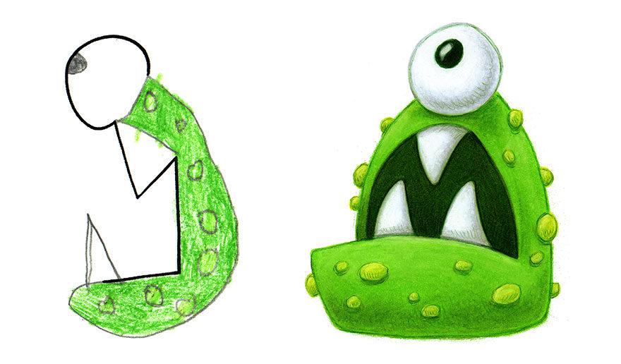 大人沒創意請小孩幫忙!30張畫家請「小朋友提供創意」產出的夢幻怪物圖!