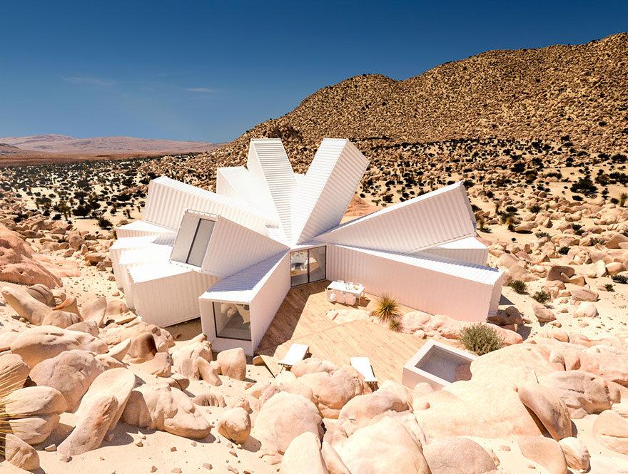 超美複合貨櫃屋宛如「沙漠中的一朵花」!「內部神奇空間設計」讓你想一輩子住下!(影片)