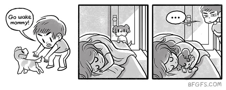 20張女友眼中的「男友+狗狗」日常生活爆笑漫畫 每天回家都要抱著聊天♥
