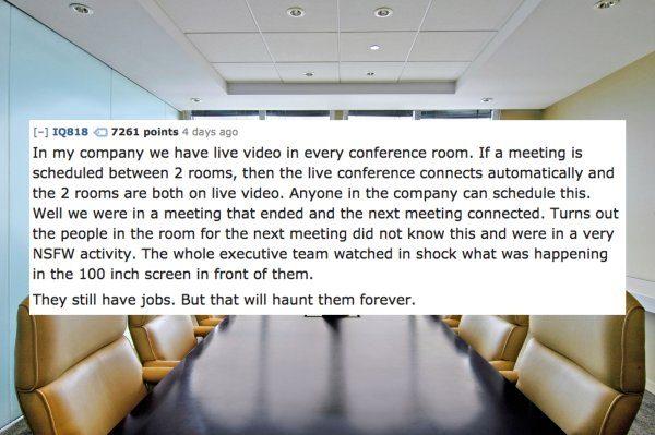 14位網友分享他們撞見最「上班時間不宜」的超色事蹟。難怪你桌上總是有漂白水味...