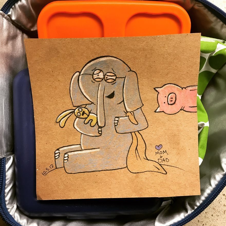 以前我媽媽都寫給我!可愛老爸每天幫幼稚園兒子畫超漂亮「午餐明信片」上面留下最完美教條! (10張)