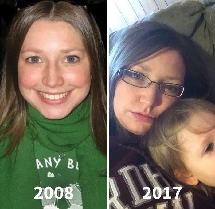 24張「生孩子之前 VS 之後照」證明生孩子直接老30歲!