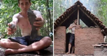 越原始越紅!他歸隱山林「體驗石器時代生活」,獨自徒手「蓋出村莊又煉鐵」千萬人超愛看!