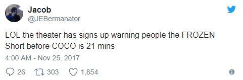 沒有人想看!《冰雪奇緣》21分鐘雪寶番外篇在《可可夜總會》前播放,網友超火大:是犯罪!