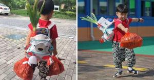 男童開學首日「背蔥上學」爆紅,媽媽「解釋原因」讓網友們都衝去買蔥了!
