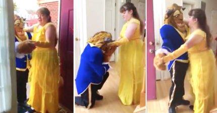 暖爸為了自閉症女兒「扮美女與野獸」跳父女舞,音樂一響起網友開始泛淚!