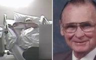 監視畫面看到退休二戰軍官老人在病床上「垂死掙扎」求救,護士站一邊看他死一邊大笑