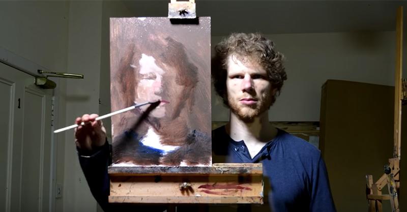 超強藝術家站在鏡子前面「反著畫肖像」,最後看到可以跟梵谷匹敵的神作! (影片)