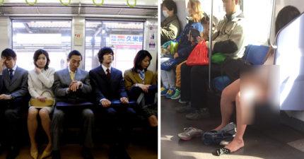 長髮妹電車上脫褲讓「鮑鮑透氣」!下半身「全裸」任人看...乘客超淡定,網友:如果是老婆會很想死!