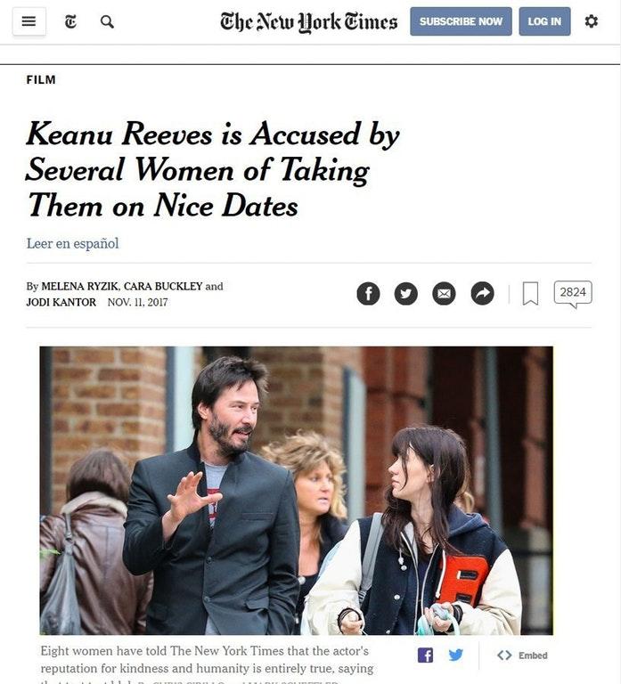 基努李維被控帶女性去「超美好的約會」 網友看完大讚:果然是男神!