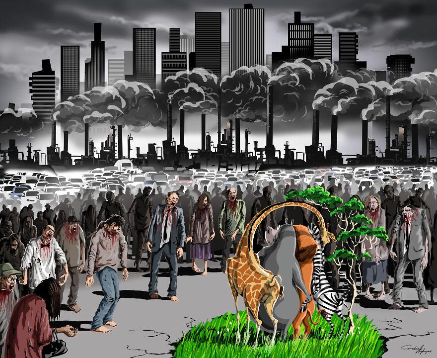 13张没有世界观的人会看不懂的社会黑暗面「反讽插画」! -5a0becc8490e3