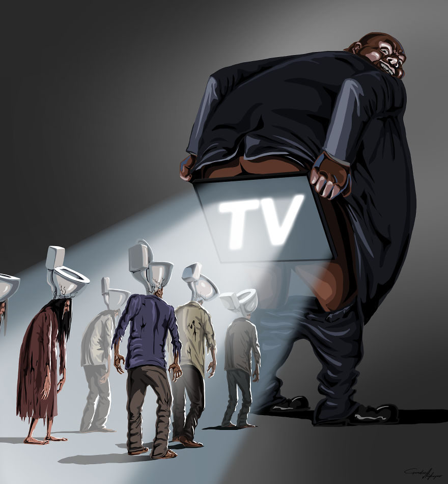 13张没有世界观的人会看不懂的社会黑暗面「反讽插画」! -5a0becc97e32e