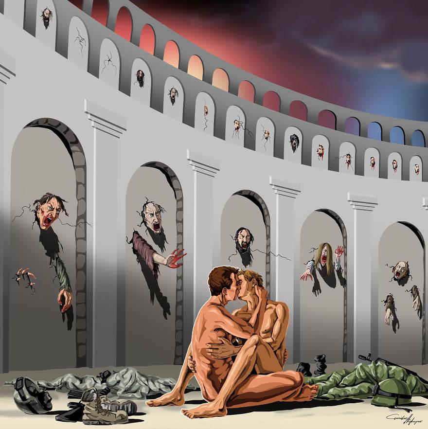 13张没有世界观的人会看不懂的社会黑暗面「反讽插画」! -5a0beccace32b