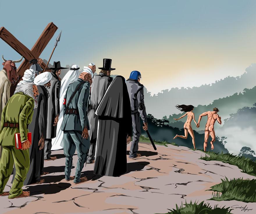13张没有世界观的人会看不懂的社会黑暗面「反讽插画」! -5a0beccedeaa2