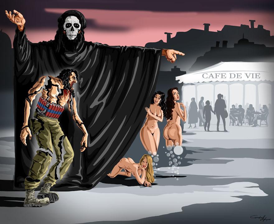 13张没有世界观的人会看不懂的社会黑暗面「反讽插画」! -5a0becd434e13