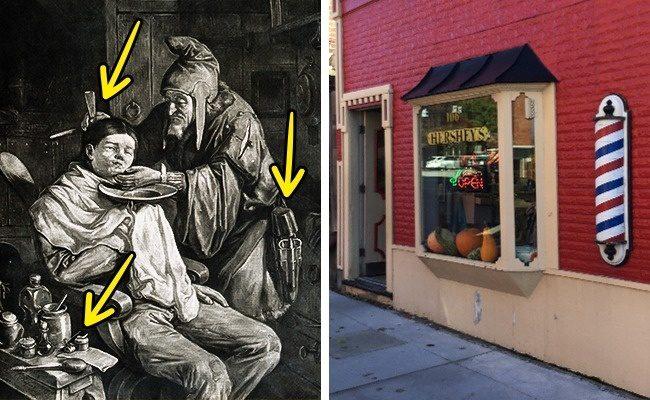 12個已經被世人誤解到爆的常見標誌 理髮店「旋轉圓柱」:以前的理髮店很沒人性