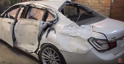 900萬BMW 7系列名貴轎車撞到報廢,修車神手工把它從「0價值→全新」!(全程影片)