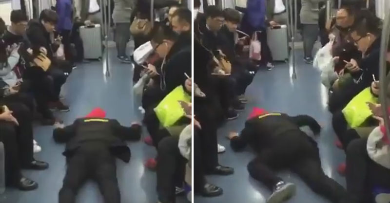 中國的地鐵就是這麼可怕!男子在地上抽搐「這樣才能坐到位子」