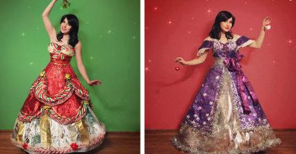 正妹不停狂收集禮物包裝紙做出「超華麗聖誕節禮服」!「毒藤女禮服」美到完全看不出來是紙做的!