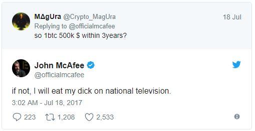 比特幣暴漲他只好加碼預言!McAfee防毒軟體創辦人:2020年沒漲到3千萬就「上電視吃自己GG」