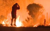 大火燃燒12萬英畝土地,路邊拍到「紅衣男子抱頭」闖進大火拯救野生兔兔的最驚險感人的一幕!