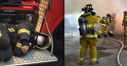 寒冬中大火燒整夜,消防替代役完成任務「穿裝備睡倒消防車邊」民眾感動「真的辛苦!」