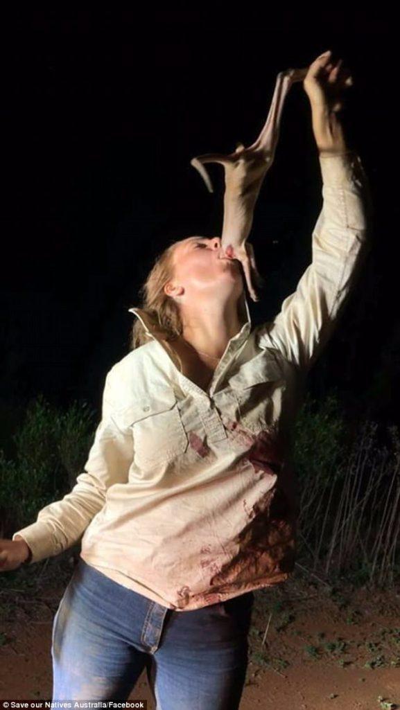 正妹全身血深喉嚨吞下「斷頭粉紅小袋鼠」自拍PO網,她:我很愛動物!