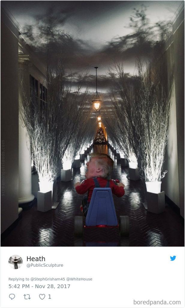 今年第一夫人蜜蘭妮設計的白宮聖誕裝飾根本「鬧鬼」!網友手癢幫P圖…連催狂魔都出現了!