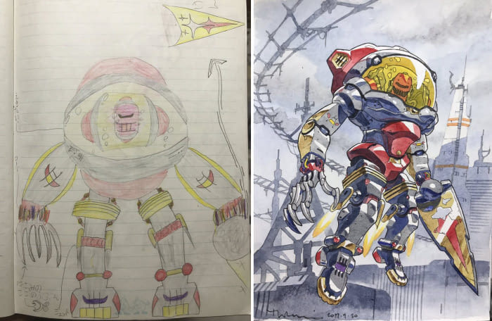 【PART 5】老爸將兒子的創意塗鴉「優化」成最帥動漫人物!宮崎駿可以安心退休了...