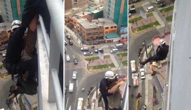 50歲男揚言自殺「爬到15樓頂樓懸吊」,關鍵6秒「消防員手沒抓穩鬆脫」淒厲尖叫慘死...(影片)