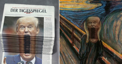 報紙疊起「川普被惡搞成吶喊」作頭版,網友P圖大戰又開始了!(7張)
