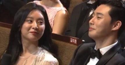 KBS演技大賞朴敘俊與金智媛被問「有沒有動真心?」兩人默默舉手認了...朴敘俊的裸體讓她受不了...