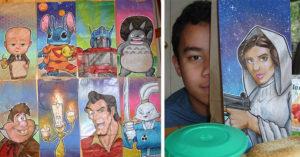 為了拯救兒子,爸爸每天花1小時畫出「最美午餐紙袋」4年來畫了550個!(20張)