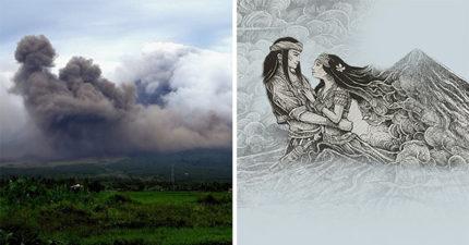 遊客欣賞活火山意外拍到「神秘男女相擁雲層照」,當地人揭開背後淒美愛情故事!