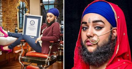 滿臉鬍鬚多毛症模特兒「勇敢愛自己」時尚品牌搶著簽,腿上刺青讓人看到她的自信