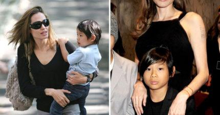 金球獎裘莉一身優雅黑禮服勾兒子出席,14歲的他已長成「成熟帥哥型男」!