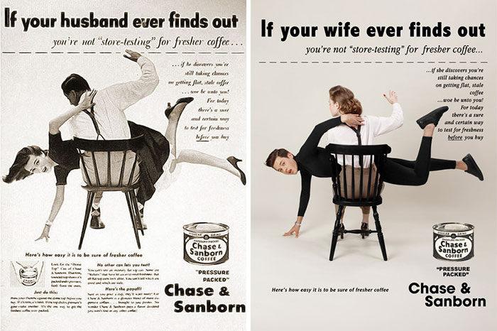 10張把1950年代廣告角色性別顛倒「強調性別刻板印象超荒謬」的反諷攝影創作!