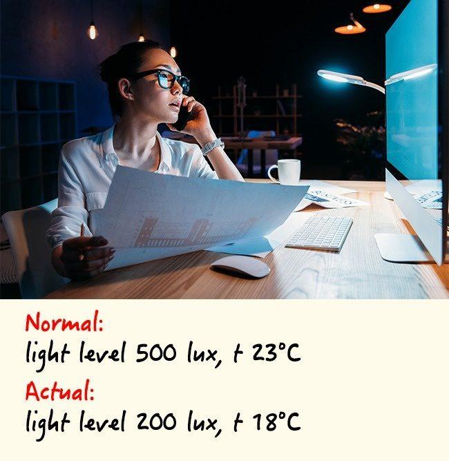 5個讓你工作「屁股越大」的原因 辦公室的光線影響很大!